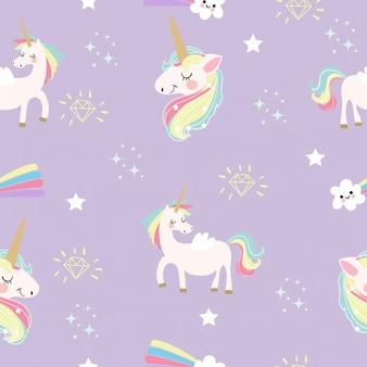 Modello unicorno carino e fantasia elementi