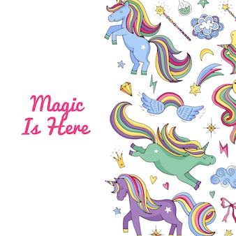 Modello unicorno unicorni e stelle magici
