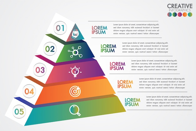 Modello variopinto di infographic della piramide con 5 punti o concetto di opzioni