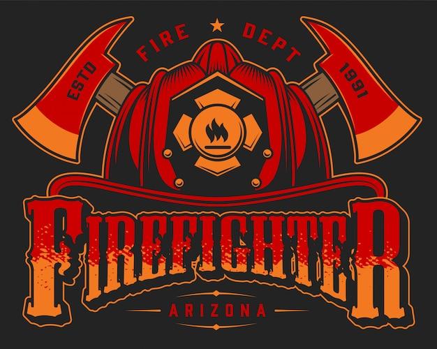 Modello variopinto di logo del vigile del fuoco d'annata con le asce e il cranio attraversati nel casco del pompiere sull'illustrazione nera