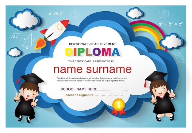 Modello variopinto di progettazione del fondo del certificato del diploma dei bambini