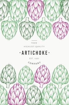 Modello vegetale di carciofo. illustrazione cibo disegnato a mano. cornice vegetale in stile inciso. banner botanico retrò.
