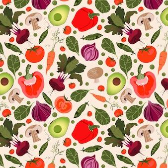 Modello vegetale moderno senza soluzione di continuità. disegno modello disegnato a mano. varietà di verdure fresche su uno sfondo beige. concetto di dieta e alimentazione sana.