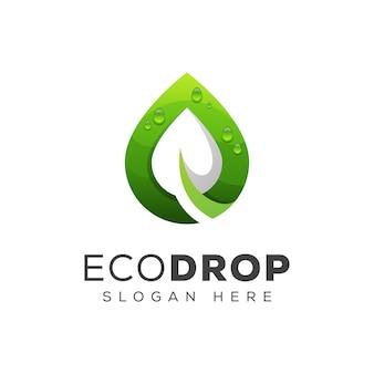 Modello verde di progettazione di logo di goccia dell'acqua della foglia o di eco