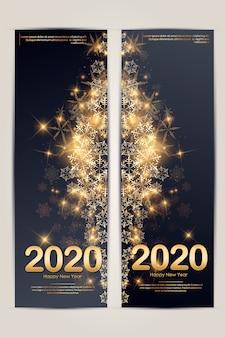 Modello verticale dell'insegna con il pizzo di colori dell'oro e dei neri dei coriandoli del fiocco di neve della stella della palla di natale per testo 2020