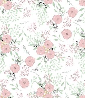 Modello vettoriale floreale con piccoli fiori e foglie.
