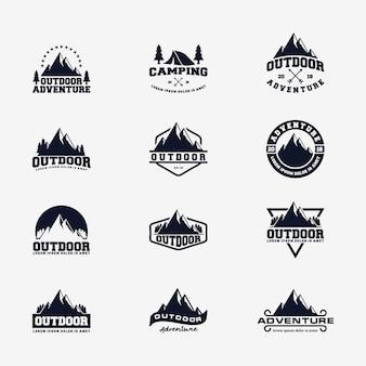 Modello vettoriale logo avventura montagna all'aperto