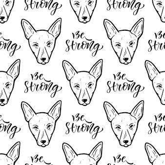 Modello vettoriale senza soluzione di continuità con i cani. carta da imballaggio o disegno di imballaggio per negozio di animali domestici. essere forte testo calligrafico.