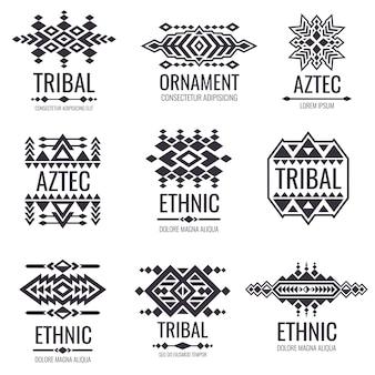Modello vettoriale tribale azteco. grafica indiana per disegni di tatuaggi