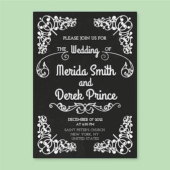 Modello vintage di invito di nozze