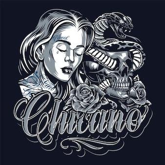 Modello vintage di tatuaggio chicano