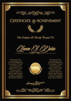 Modello vintage retrò certificato o diploma