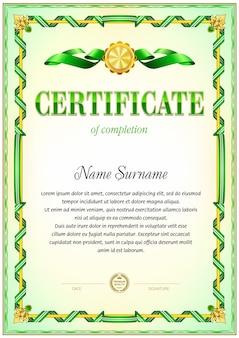 Modello vuoto certificato. gamma di colori verde.