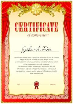 Modello vuoto certificato vintage rosso.
