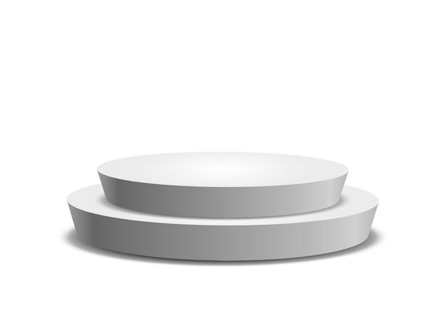 Modello vuoto del podio rotondo bianco isolato su priorità bassa bianca