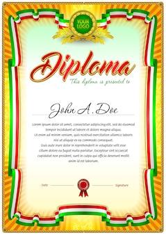 Modello vuoto diploma colorato.