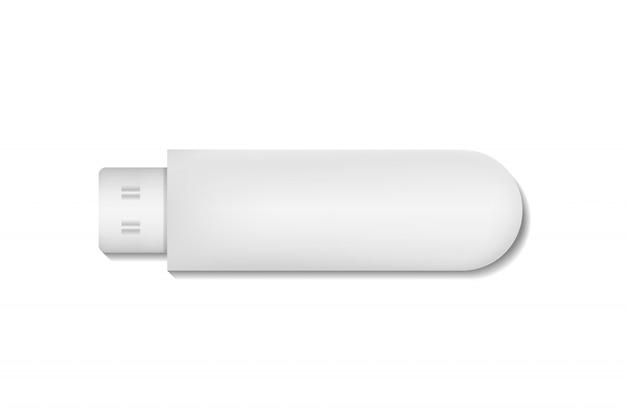 Modello vuoto realistico di unità flash usb per rivestimento e decorazione su sfondo bianco.