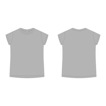 Modello vuoto t-shirt in cotone grigio. maglietta tecnica di schizzo dei bambini isolata su fondo bianco.