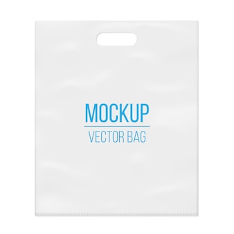 Modello vuoto vuoto bianco modello di sacchetto di plastica.
