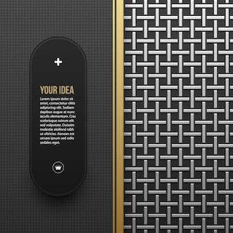 Modello web banner su fondo argento / platino metallico con motivo geometrico senza soluzione di continuità. elegante stile di lusso.