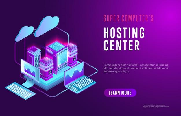 Modello web colorato del centro di hosting