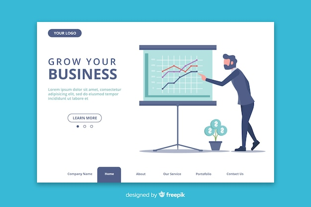 Modello web con statistiche in design piatto