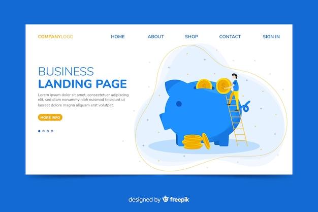 Modello web corporativo di landing page con tema risparmio di denaro