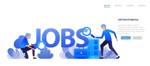 Modello web della pagina di destinazione. agenti che trovano lavoro per persone in cerca di lavoro e aziende che hanno bisogno di lavoratori professionisti per un colloquio di carriera.