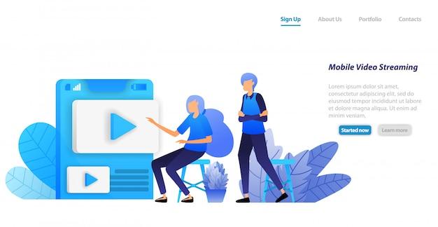 Modello web della pagina di destinazione. app di condivisione e streaming video online mobile. le persone scelgono i video influenzatori per giocare e guardare
