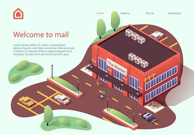 Modello web della pagina di destinazione benvenuto in mall flat.