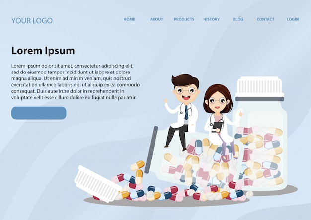 Modello web della pagina di destinazione con assistenza sanitaria bottiglia medico e medicina