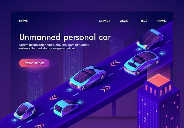Modello web della pagina di destinazione con auto intelligente artificiale senza conducente sicura