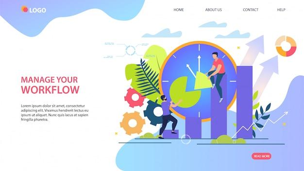 Modello web della pagina di destinazione con l'illustrazione. gestisci il tuo flusso di lavoro.