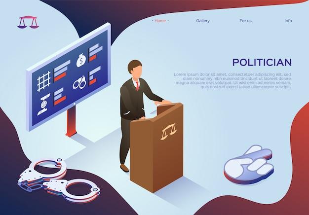 Modello web della pagina di destinazione con politico bribery in power.
