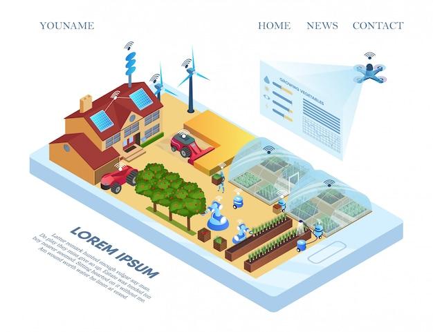 Modello web della pagina di destinazione con smart farm allocation flat.
