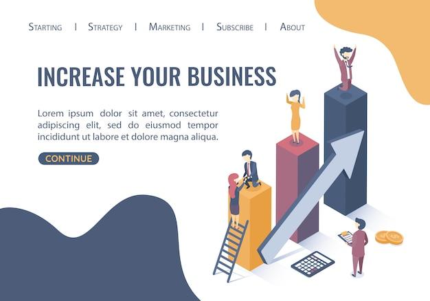 Modello web della pagina di destinazione. concetto di business di obiettivi, successo, successo e sfida. lavoro di squadra nel mondo degli affari. stile piatto