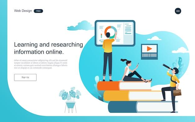 Modello web della pagina di destinazione. concetto di educazione per l'apprendimento, la formazione e i corsi online.