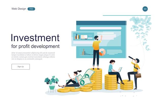 Modello web della pagina di destinazione. concetto per finanziario e investimenti. ritorno sull'investimento.