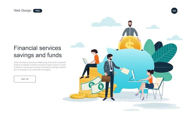 Modello web della pagina di destinazione. concetto per il servizio finanziario, investimenti e risparmio.