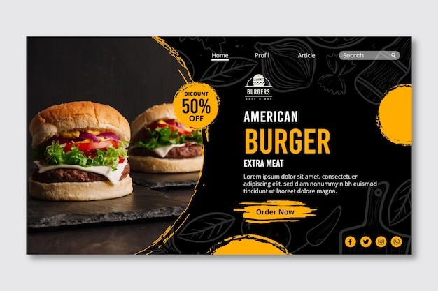 Modello web della pagina di destinazione del cibo americano