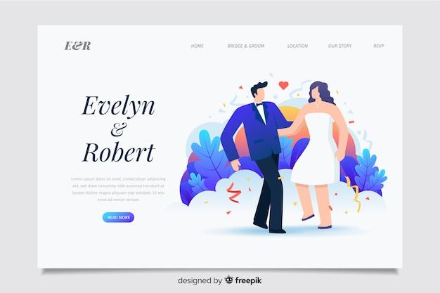 Modello web della pagina di destinazione del tema weddinf