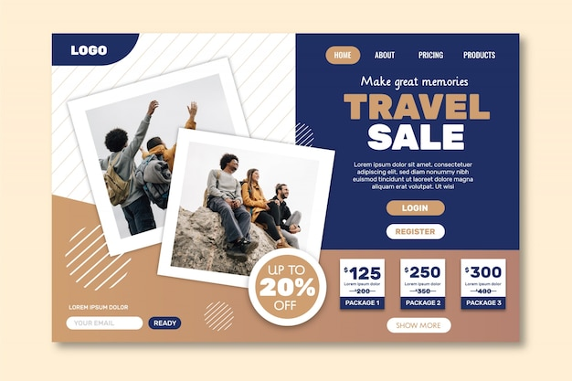 Modello web della pagina di destinazione della vendita di viaggi