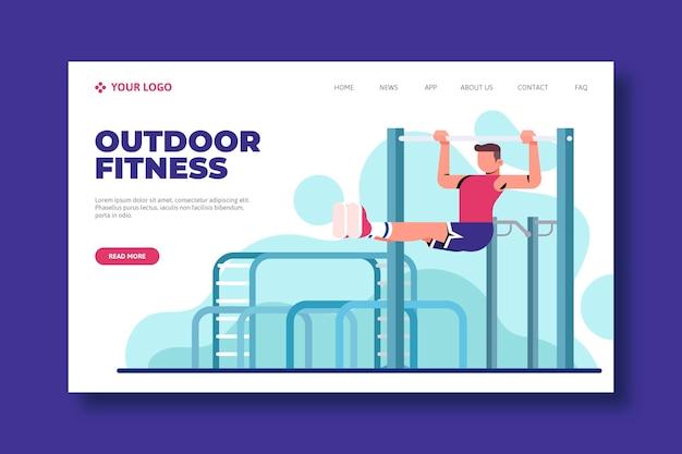 Modello web della pagina di destinazione di sport all'aperto