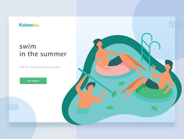 Modello web della pagina di destinazione. diverse persone in piscina.