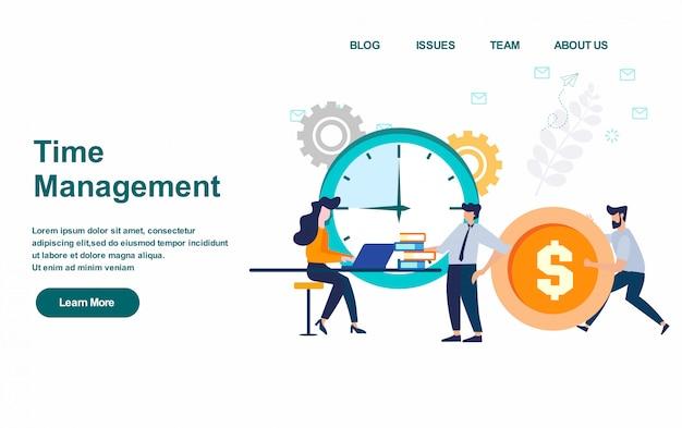 Modello web della pagina di destinazione. illustrazione vettoriale di gestione del tempo, design piatto