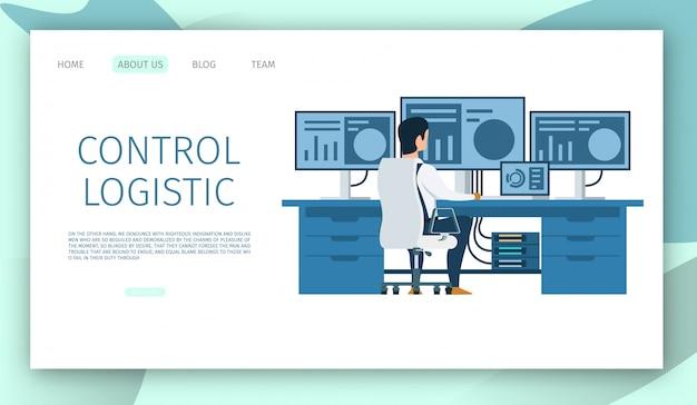 Modello web della pagina di destinazione. ingegnere posto di lavoro. carattere che lavora al computer