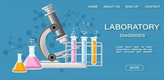 Modello web della pagina di destinazione. laboratorio medico con l'illustrazione dei tubi di vetro
