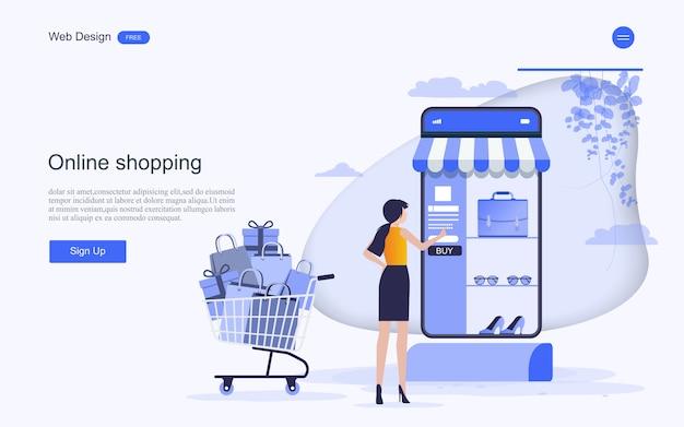 Modello web della pagina di destinazione per acquisti e servizi online