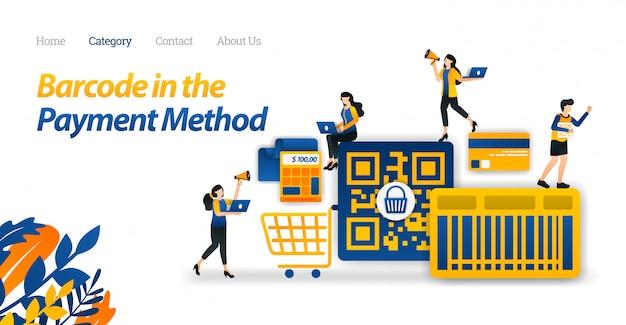 Modello web della pagina di destinazione per il design di pagamento acquisti con un codice a barre o un metodo di codice qr per semplificare lo shopping.