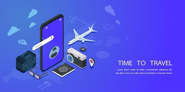 Modello web della pagina di destinazione per il servizio di viaggio e il concetto di prenotazione dell'app. marketing digitale